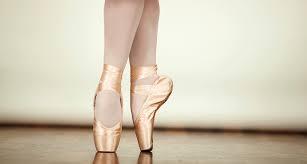 close up on ballerina pointe